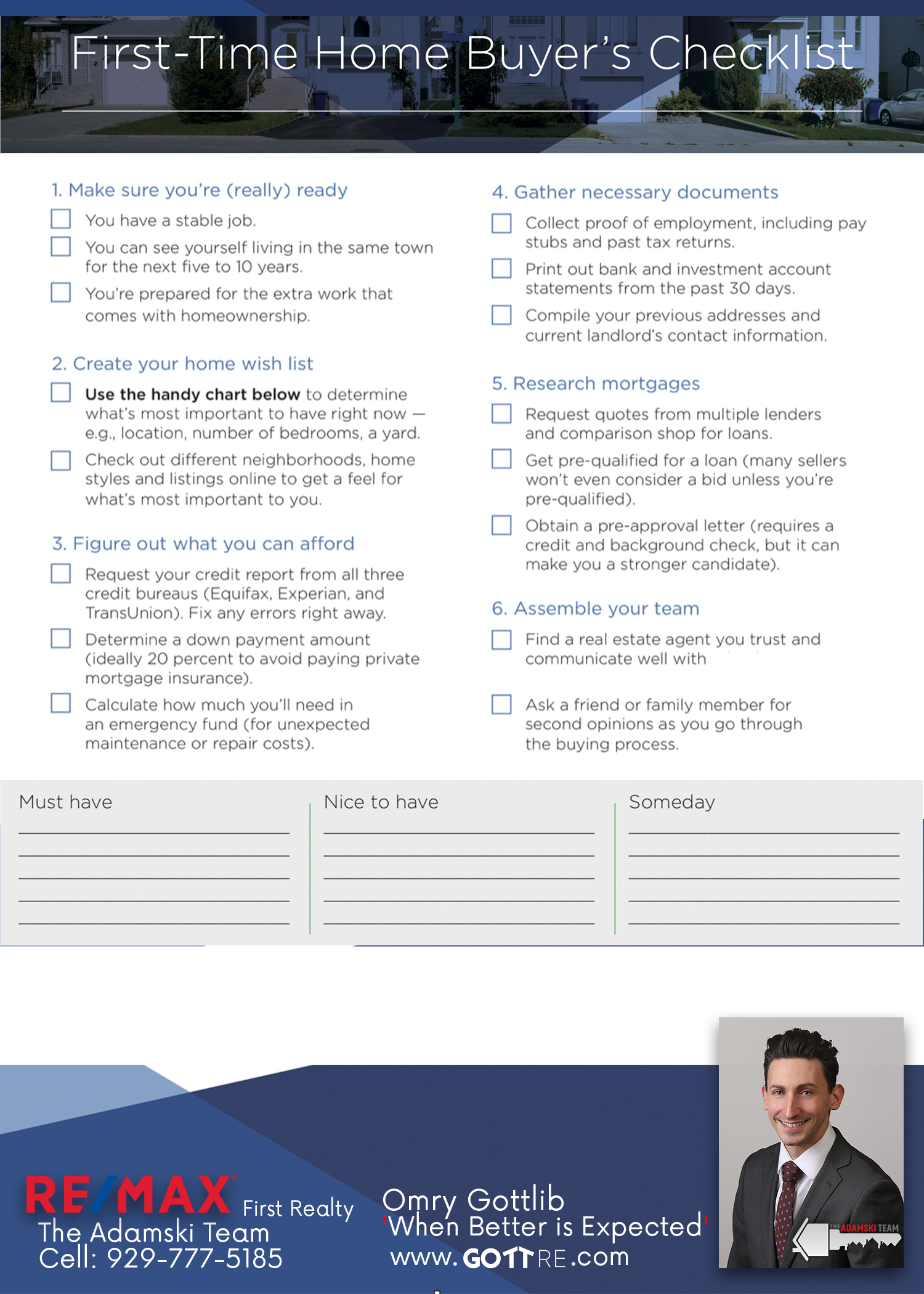 The First Time Home Buyers Checklist - Gott Re
